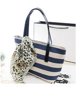 Women Lady Canvas Shoulder Bag Stripe Bag Portable Handbag With Scarf To... - $14.46