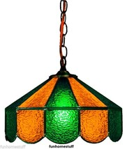 "GREEN & GOLD 14"" GLASS HANGING HOME BAR TABLE LAMP DECORATIVE LIGHT FIXTURE - $209.95"