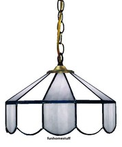 "POWDER BLUE & WHITE 14"" STAINED GLASS HOME LAMP HANGING ACCENT LIGHT FIX... - $209.95"