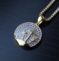 Men's Mini Gold Jesus Piece Iced Out Three Cross Pendant Necklace Set - £17.48 GBP