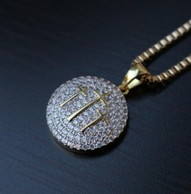 Gold Jesus Piece Fully Iced Out Three Cross Necklace - $22.99