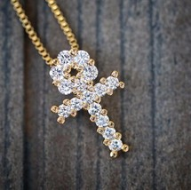18k Gold Mini Micro Egyptian Ankh Cross Pendant Charm Necklace Iced Out - $13.99
