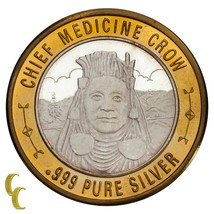 Chief Medizin Crow Indianer Casino Gaming Token .999 Silber Limitierte A... - $62.38