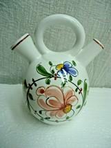 g121 Anfora Portuguese Pottery Double Spout Hand Painted Flower Vase Pitcher - $5.22