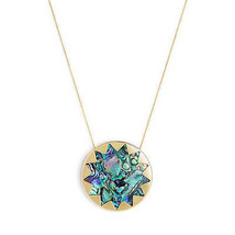 House of Harlow 1960 14KT Y/G Plated Abalon Shell Sunburst Pendant Neckl... - $67.32