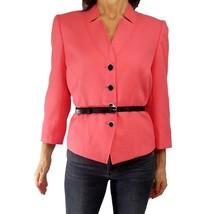TAHARI ARTHUR LEVINE Sz 14 Pink Coral Black Belt Spring Blazer Jacket 3/... - $23.76