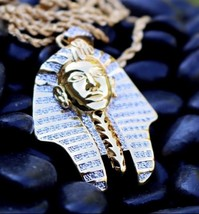 "Gold King Tut Pharaoh Egyptian Pendant Charm 24"" Rope Chain Necklace - £18.24 GBP"