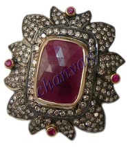 Vintage/Antique Inspire 3.20Ct Rose Cut Diamond 925 Silver Ruby Pave Rin... - €272,16 EUR
