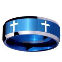 8MM Blue Tungsten Carbide Beveled Crossess Ring... - $34.99