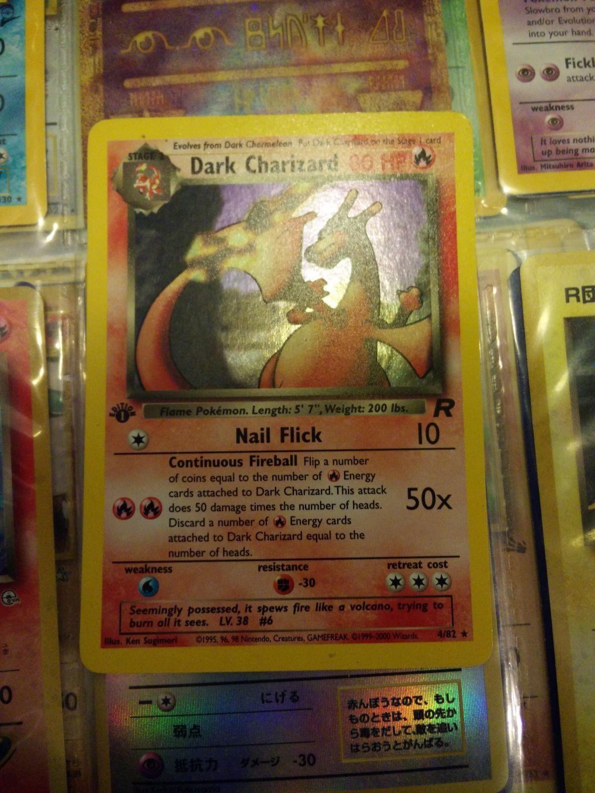 Pokemon DARK CHARIZARD 4/82 1st Edition HOLO AWESOME CONDITION Team Rocket Set