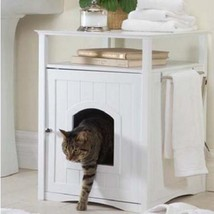Wood End Table Night Stand Dog Cat Washroom Pet House Litter Box Loo Cab... - $148.88