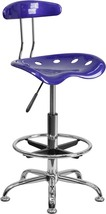 Vibrant Deep Blue and Chrome Drafting Stool w/ Tractor Seat [LF-215-DEEP... - £57.54 GBP