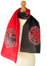 "Silk Scarf Handpainted 8x62"" Games of Throne A song of Ice and Fire Blac... - $57.42"