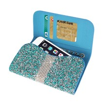 Diamond Bling Credit Card Blue Wallet fits LG Tribute Dynasty (Sprint) - $19.79