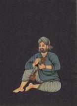 Indian Rajasthani Miniature Portrait Painting Handmade Hookah Villager F... - $54.99