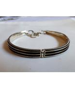 "Oxidized 925 Sterling Silver bar Link Bracelet 8""L 16g - $44.55"