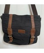 Fossil Messenger Bag Black Canvas Brown Leather Accents Laptop Bag Cross... - $49.47
