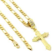 """Men's 14k Gold Plated Line Sharp Cross Pendant Hip-Hop 24"""" 5mm Figaro Chain - €12,55 EUR"""