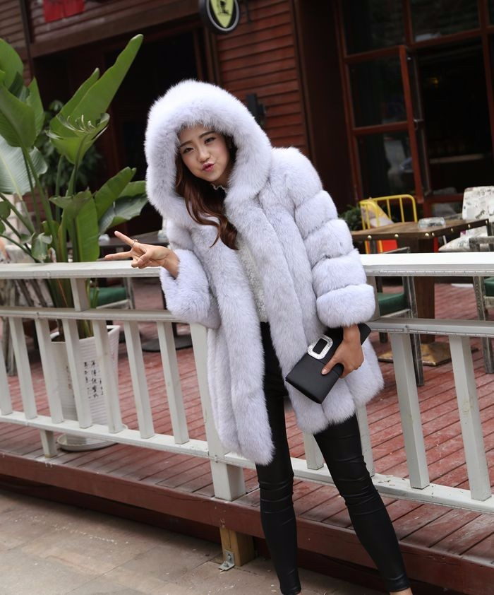 Women`s Fox Fur Coat with Hood 100028 Jacket Natural Blue Fox Color stripes fur