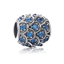 925 Sterling Silver Scale Pattern Bead with Blue CZ European Charm Bead  - $17.99