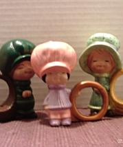 3 Vintage Kitsch Big Hat Boy Girl Ceramic Napkin Rings // Retro Kitchen - $10.99