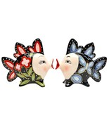 3.5 Inch Red and Blue Floral Kissing Fish Black Salt and Pepper - $12.86