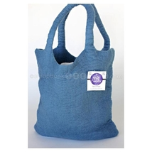 """CLEARANCE Dimensions Wool Denim Tote bag 16"""" x 13"""" cross stitch embroidery - $10.00"""