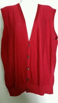 Bobby Jones Cotton Vest Large L Red Button V-Neck Holiday Golf  - $19.78