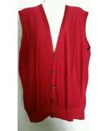 Bobby Jones Cotton Vest Large L Red Button V-Neck Holiday Golf  - $19.78