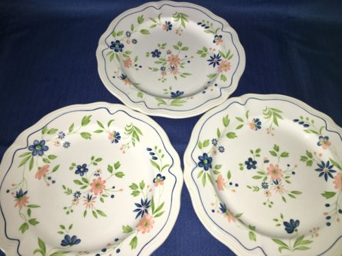 3 vintage SEARS French Country Ironstone blue peach floral dinner plate 10.5  GC - $30.40 & Blue Dinner Plate: 16 listings