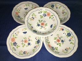 5 vintage SEARS French Country Ironstone salad bowls blue peach flowers ... - $33.25