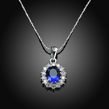 6.4CT Oval Blue Tanzanite Necklace in 18K White Gold Plated with Gift Bo... - $9.79