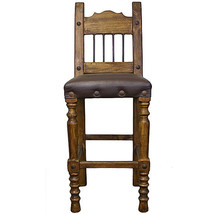 "30"" Torno Bar Stool With Leather And Iron Real Wood Rustic Western Cabin... - $395.01"