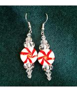 Peppermint Candy Pinwheels Dangle Earrings - $10.00