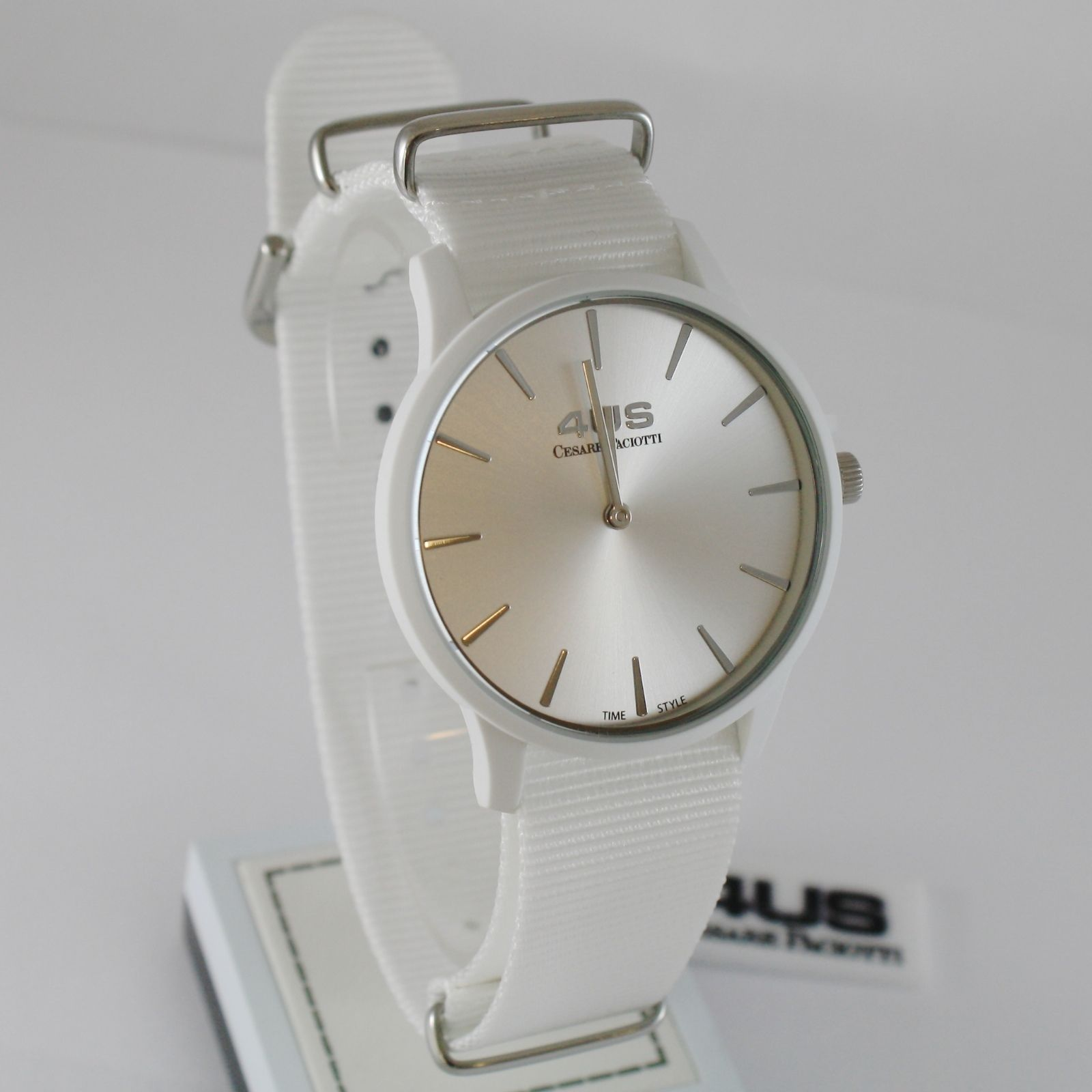 CESARE PACIOTTI 4US WATCH QUARTZ MIYOTA MOVEMENT 40 MM CASE, WHITE FABRIC BAND