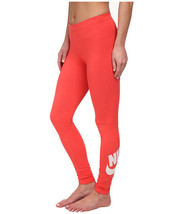 New Nike LEG-A-SEE Logo Women's Sz: M Tights Leggings Pants Hot Lava 806927-696 - $35.99