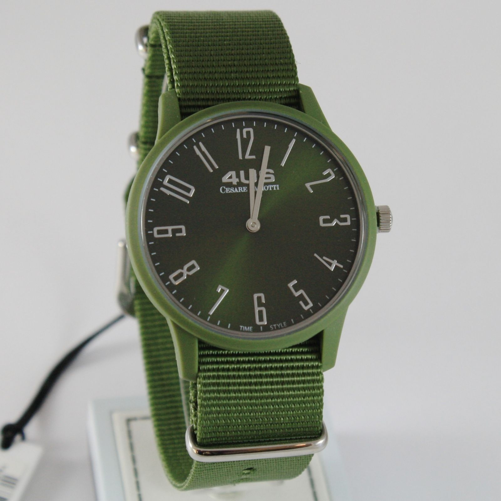 CESARE PACIOTTI 4US WATCH QUARTZ MIYOTA MOVEMENT 40 MM CASE, GREEN FABRIC BAND