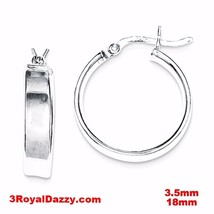 14k layer on Sterling Silver Plain Flat Hollow Hinged Hoop Earrings - 3.... - $17.72