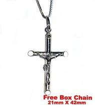 18k layered over Silver Crucifix Jesus Cross Christian Pendant -L-FREE b... - $19.49