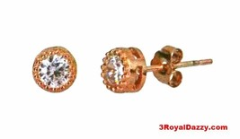 14k Rose gold layer Round Bezel prongs CZ .925 Sterling Silver Unisex Ea... - $12.16