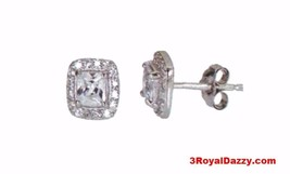 14k white gold layer Princess Cut Brilliant CZ 925 Silver Stud Earring - $15.79