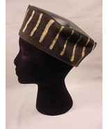 African Mud Cloth Kufi Hat Sz L Stripes Off Black/White Black Leather Ma... - $15.99