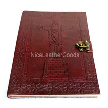 Leather Journal Leather Diary Leather Notebook Brass C Lock, Christ the ... - $24.99