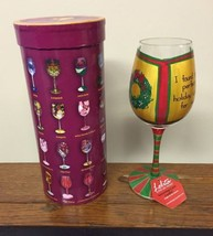 Lolita 'Greeting Card Cooler' Christmas Wine Glass Retired w/ Box & Tag - $23.15