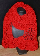 Red Ruffled Hand Crocheted Scarf - $19.95