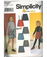 9337 Vintage Simplicity Sewing Pattern Girls Pull on Skirts 6 Easy UNCUT OOP SEW - $4.89