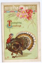 Thanksgiving Greetings Turkey Flower Wheat Vintage Embossed Postcard P S... - $4.99
