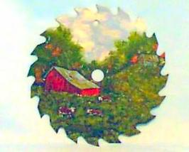 Hand Painted Saw Blade Spring Cow Farm Scene Custom Order Wall Decor Wal... - $35.00