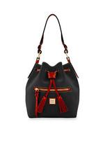 Dooney & Bourke Logan Black Pebble Grain Leather Small Leather Drawstrin... - $399.99