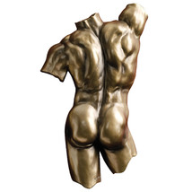 Exposed Intimacy Male Back Torso Sensual Nude Bronze Finish Wall Sculpture - $54.40